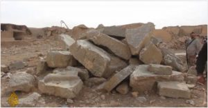 Nimrud febbraio2019: lamassu (tori alati androcefali) distrutti dall'ISIS nel 2015