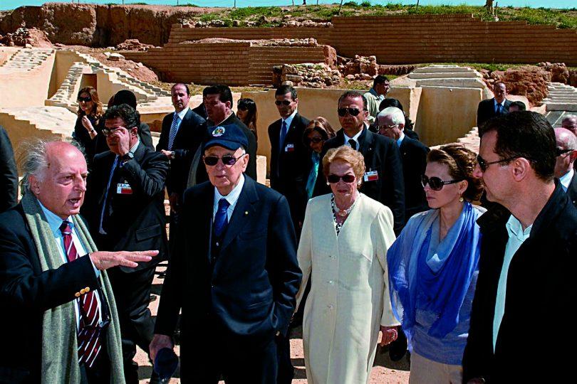 a Ebla insieme al presidente Giorgio Napolitano e al presidente della Repubblica Araba Siriana Bashar al-Assad.